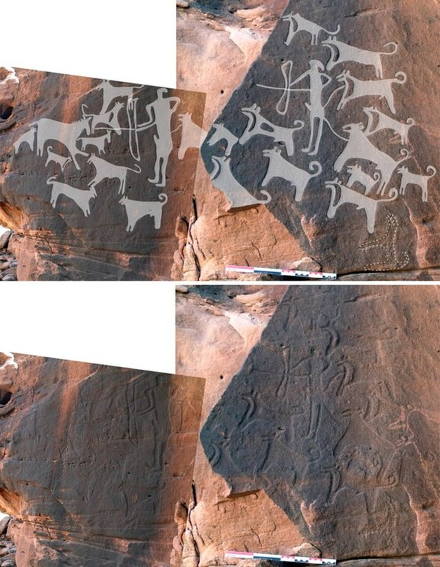 8,000-Year-Old Rock Art Includes the World's Oldest Images of Dogs