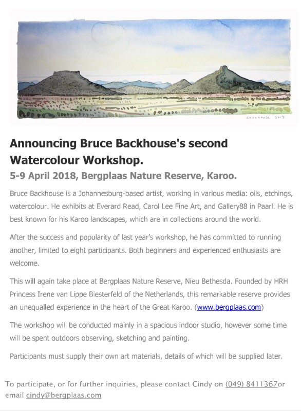 Newswire : Everard Read | Watercolour Workshop | Opening 05/04/2018