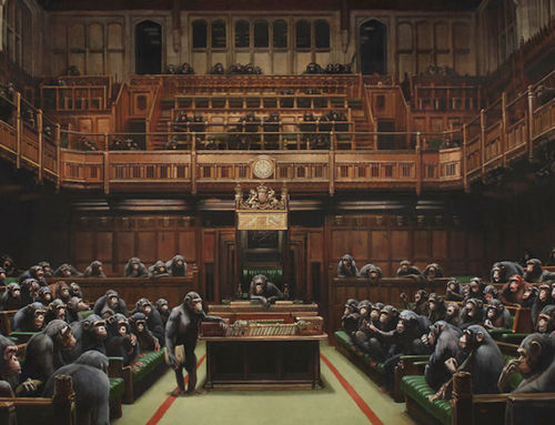 Banksy's massive painting of chimpanzee politicians could set a new auction record.