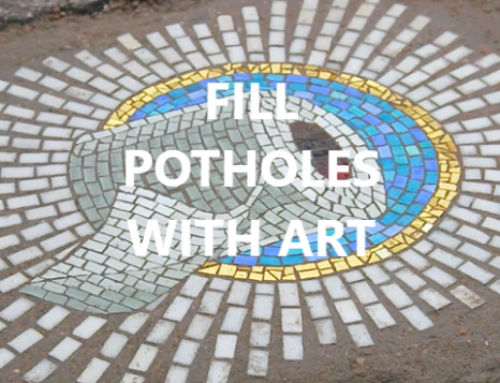 Filling potholes with mosaic art